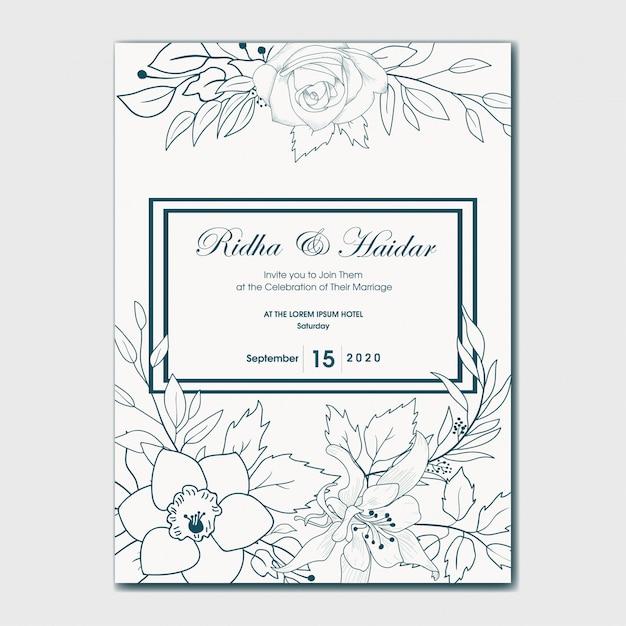 Invito a nozze botanico disegnato a mano Vettore Premium