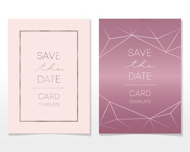 Invito a nozze card design con cornici dorate e struttura in marmo Vettore Premium