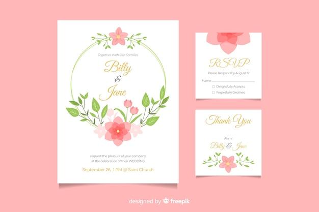 Invito a nozze carino con cornice floreale Vettore gratuito