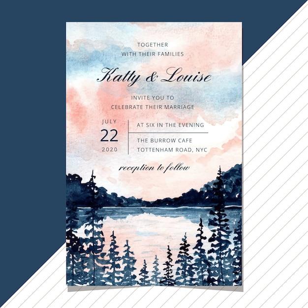 Invito a nozze con acquerello paesaggio lago. Vettore Premium