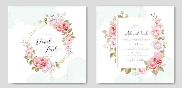 Invito a nozze con bellissimi fiori e foglie Vettore Premium