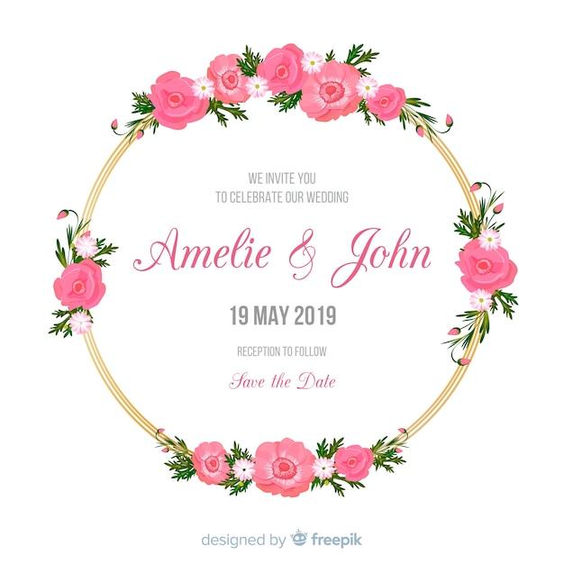 Invito a nozze con cornice floreale dorata Vettore gratuito