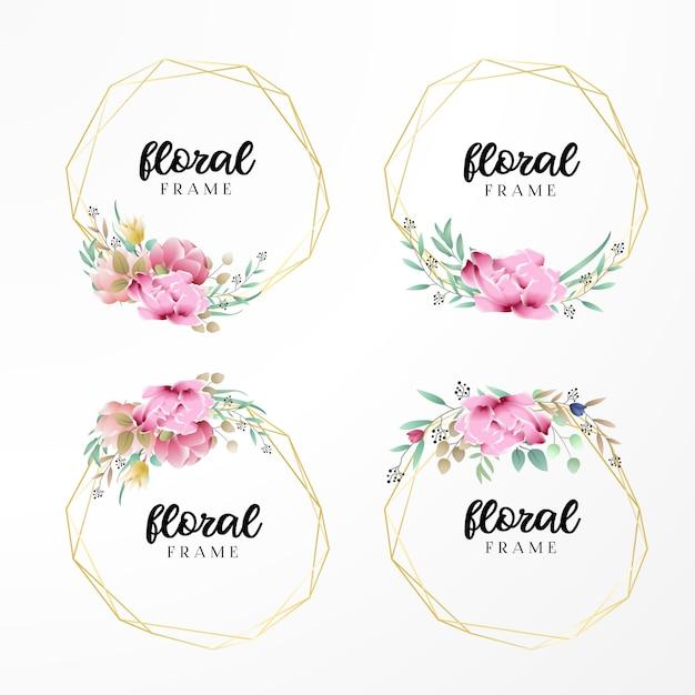 Invito a nozze con cornice floreale Vettore Premium