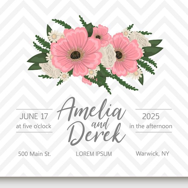 Invito a nozze con fiori colorati. Vettore Premium