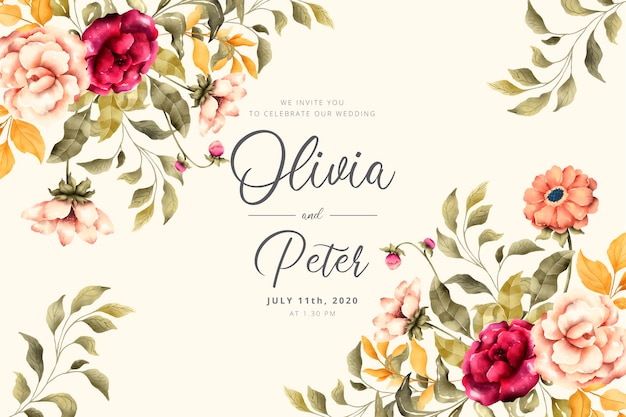 Invito a nozze con fiori romantici Vettore gratuito