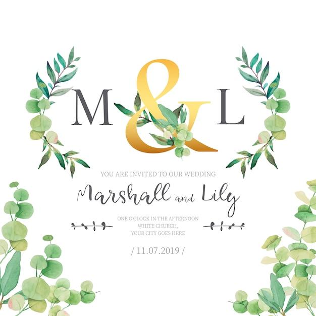 Invito a nozze con foglie di acquerello Vettore gratuito