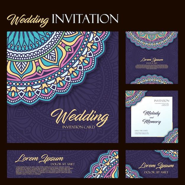 Invito a nozze con mandala Vettore Premium