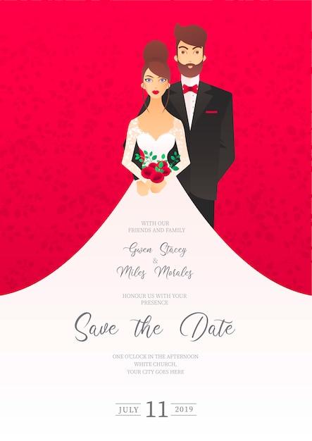 Invito a nozze con personaggi Vettore gratuito