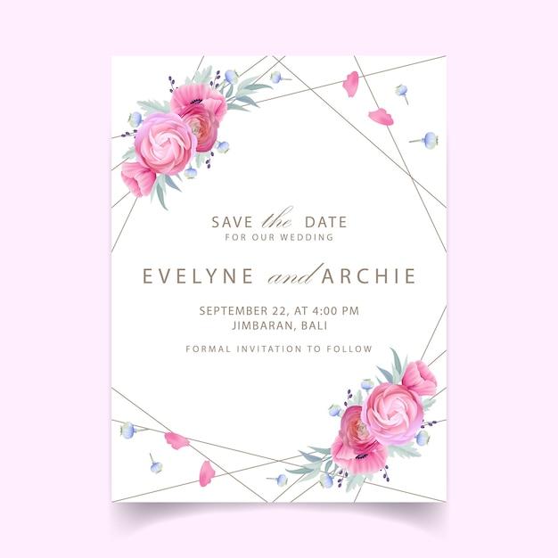 Invito a nozze con ranuncolo floreale e fiori di papavero Vettore Premium