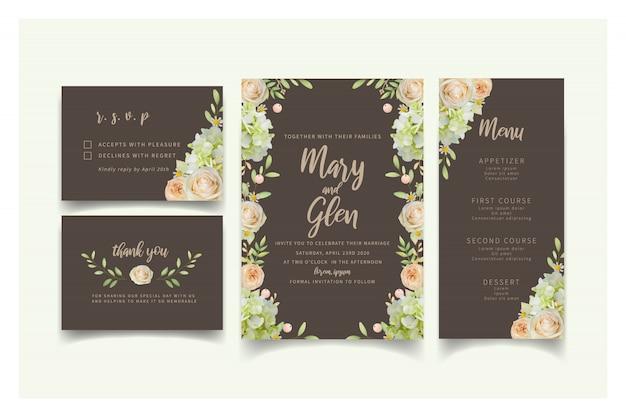 Invito a nozze con rose floreali e ortensie Vettore Premium