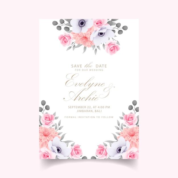 Invito a nozze con rose Vettore Premium
