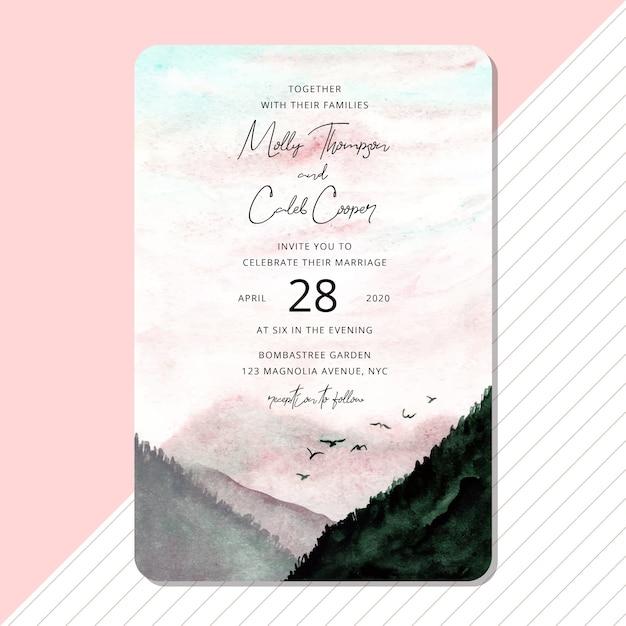 Invito a nozze con sfondo acquerello bellissimo paesaggio Vettore Premium