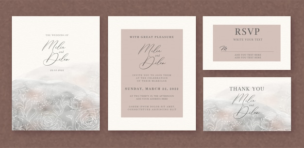 Invito a nozze con sfondo acquerello pennelli e modello di linee floreali Vettore Premium