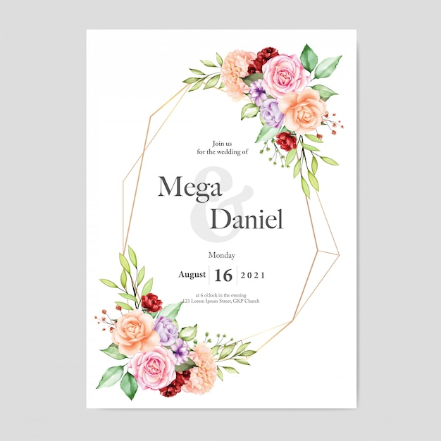 Invito a nozze con stile floreale sfondo acquerello Vettore Premium
