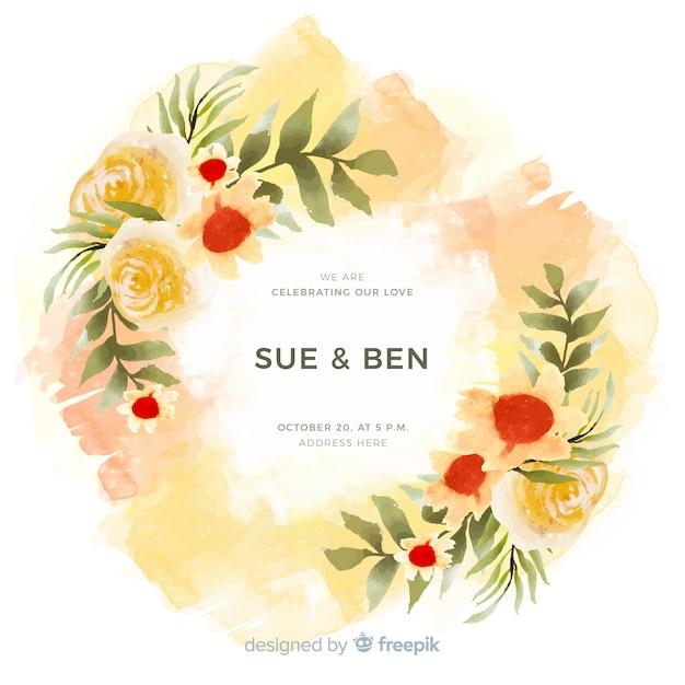 Invito a nozze cornice floreale acquerello colorato Vettore gratuito