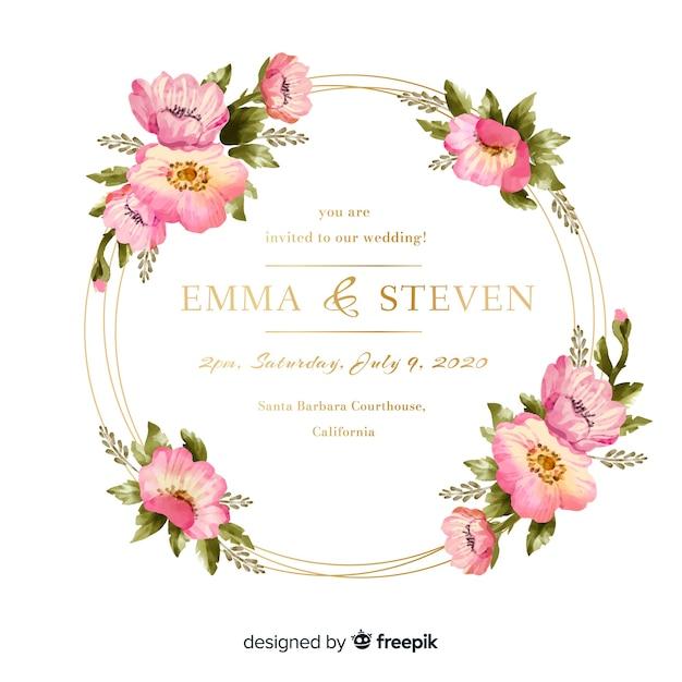 Invito a nozze cornice floreale dell'acquerello Vettore gratuito
