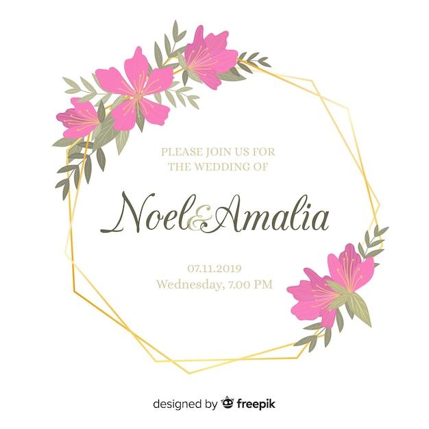 Invito a nozze cornice floreale piatta Vettore gratuito