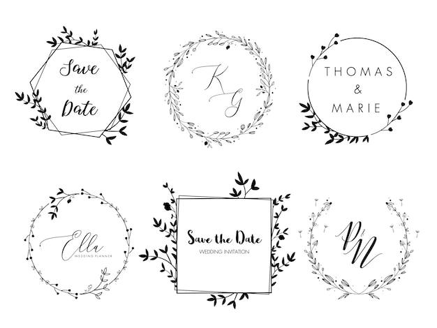 Invito a nozze corona floreale design minimale. Vettore Premium