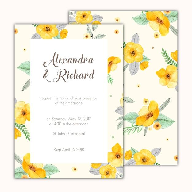 Invito a nozze decorata con dipinti a mano fiori gialli Vettore gratuito