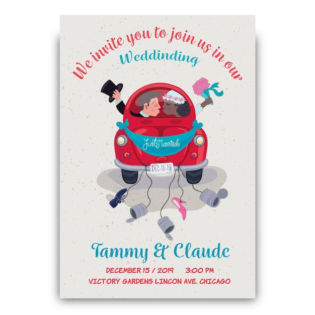 Invito a nozze disegnati a mano con lo sposo e la sposa in auto Vettore gratuito