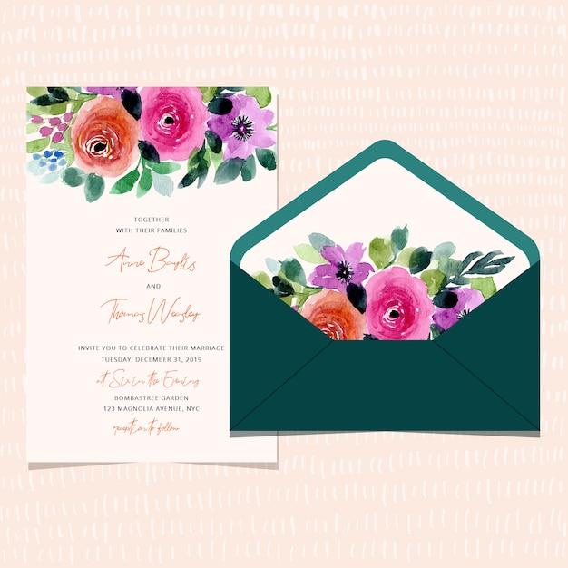 Invito a nozze e busta con bordo floreale ad acquerello Vettore Premium