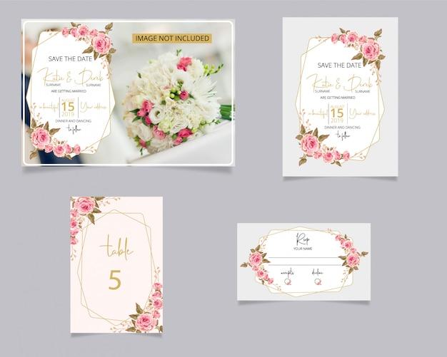 Invito a nozze e carta rsvp Vettore Premium