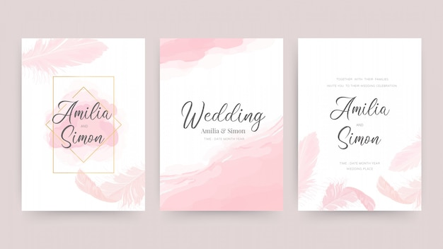 Invito a nozze e modello di progettazione di carta con belle piume. Vettore Premium