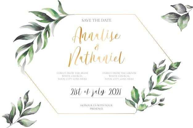 Invito a nozze elegante con cornice dorata Vettore gratuito