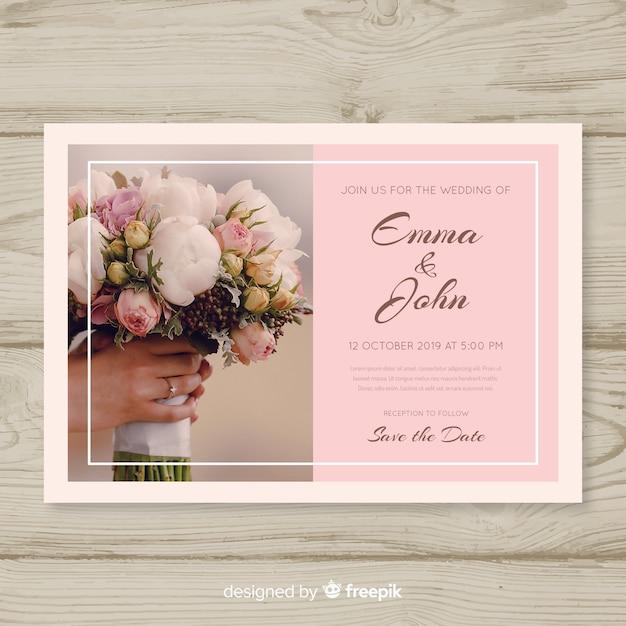 Invito a nozze elegante con foto Vettore gratuito