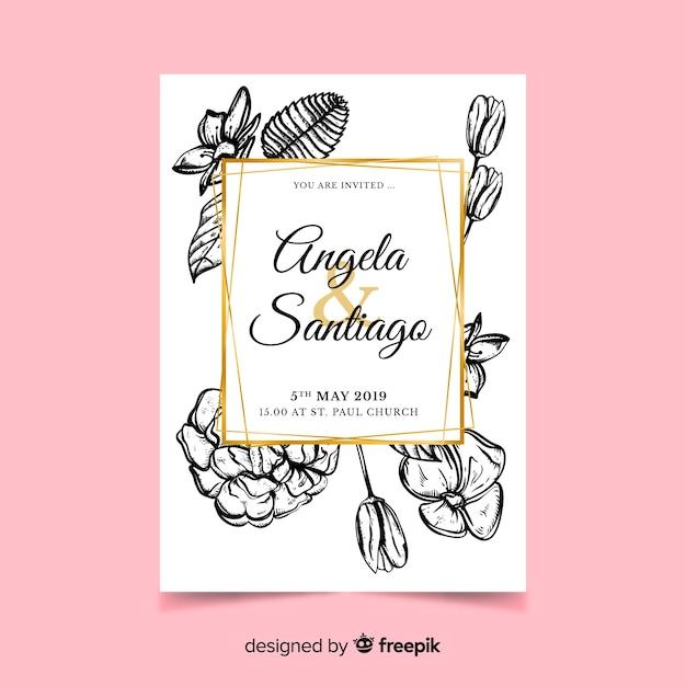 Invito a nozze fiori disegnati a mano realistici Vettore gratuito