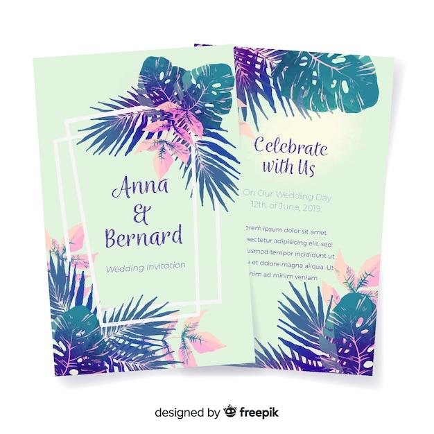 Invito a nozze fiori tropicali dell'acquerello Vettore gratuito