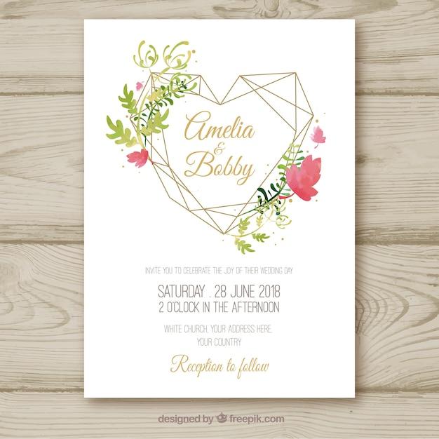 Invito a nozze floreale acquerello grazioso Vettore gratuito
