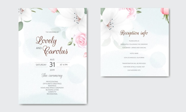 Invito a nozze floreale bella con rose e foglie verdi in fiore Vettore Premium