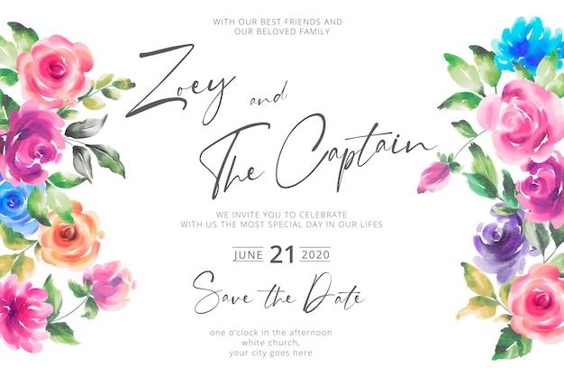 Invito a nozze floreale colorato ad acquerello Vettore gratuito