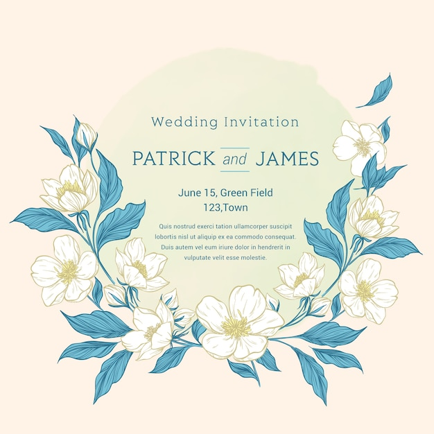 Invito a nozze floreale colorato disegnato a mano Vettore gratuito