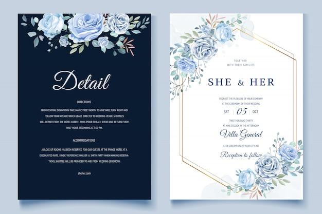 Invito a nozze floreale colorato Vettore Premium