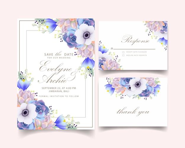 Invito a nozze floreale con fiore anemone e succulente Vettore Premium