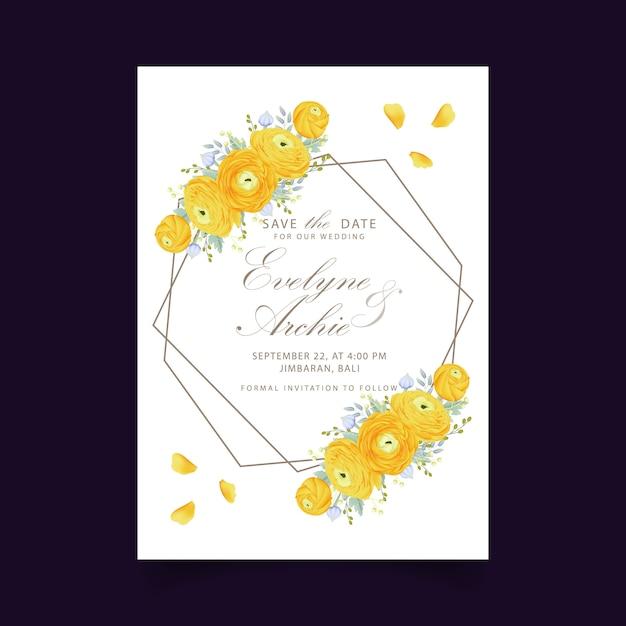 Invito a nozze floreale con fiore di ranuncolo Vettore Premium