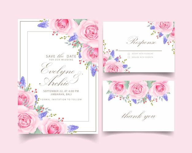Invito a nozze floreale con fiore rosa rosa e muscari Vettore Premium