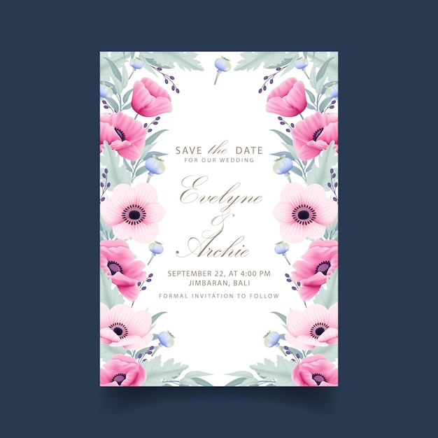 Invito a nozze floreale con fiori di anemone e papavero Vettore Premium