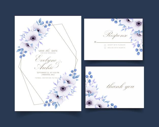 Invito a nozze floreale con fiori di anemone Vettore Premium