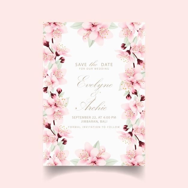 Invito a nozze floreale con fiori di ciliegio Vettore Premium