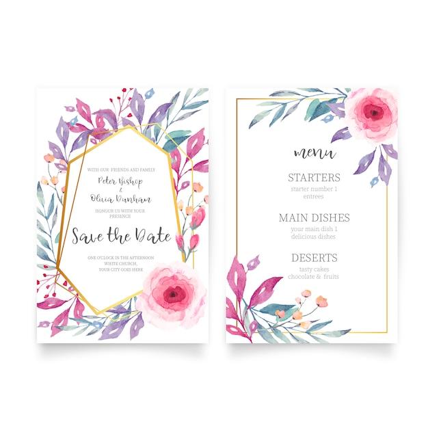 Invito a nozze floreale con la natura dell'acquerello Vettore gratuito