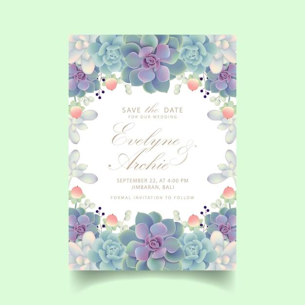 Invito a nozze floreale con piante grasse Vettore Premium