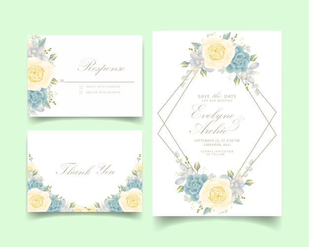 Invito a nozze floreale con rosa bianca e succulenta Vettore Premium