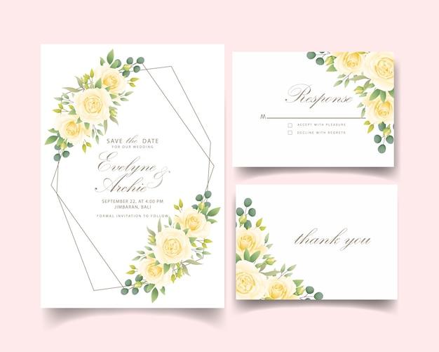 Invito a nozze floreale con rosa bianca Vettore Premium