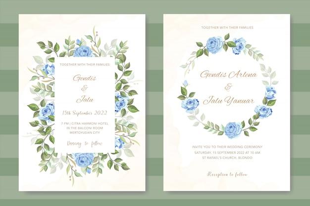 Invito a nozze floreale con rose blu Vettore Premium