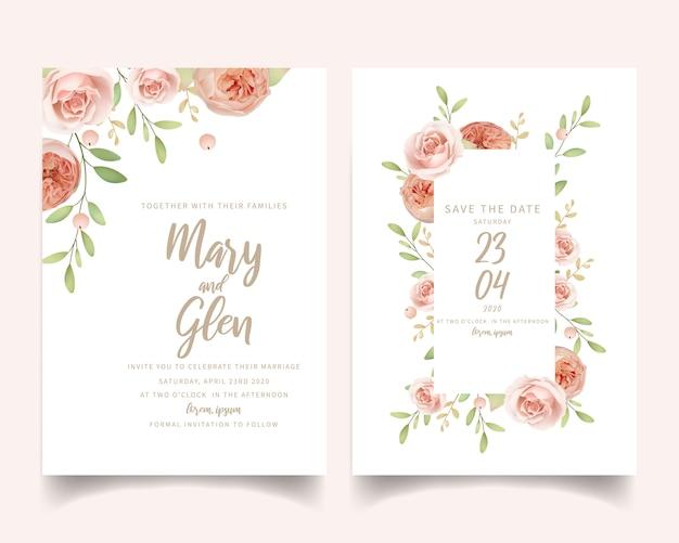 Invito a nozze floreale con rose da giardino floreale Vettore Premium