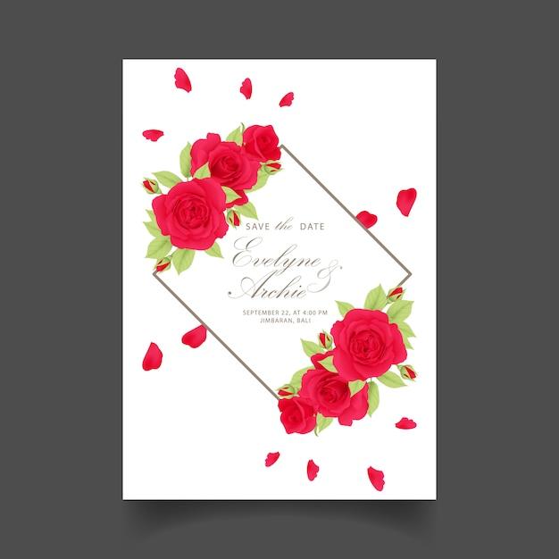 Invito a nozze floreale con rosec rosso Vettore Premium