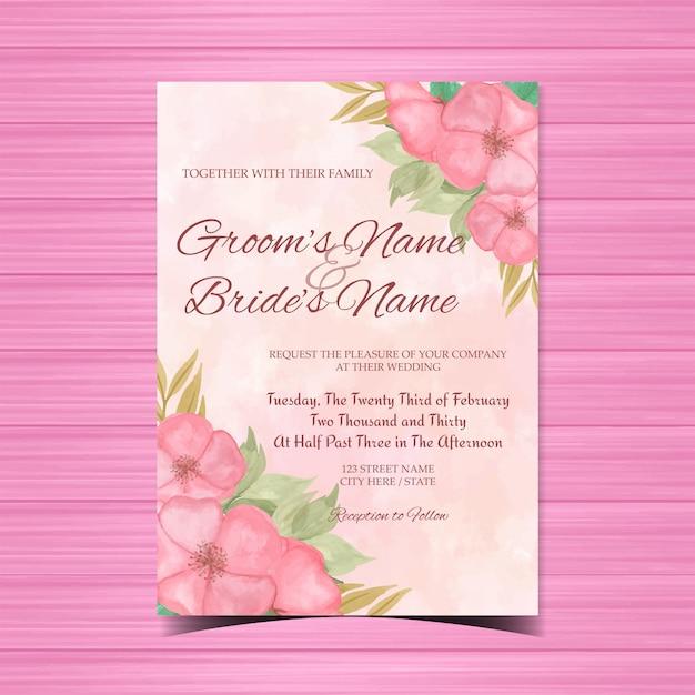 Invito a nozze floreale dell'acquerello con bellissimi fiori rosa Vettore Premium